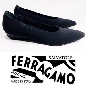 Salvatore Ferragamo Black Stretch Driving Flats